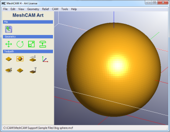 Sphere loaded into MeshCAM